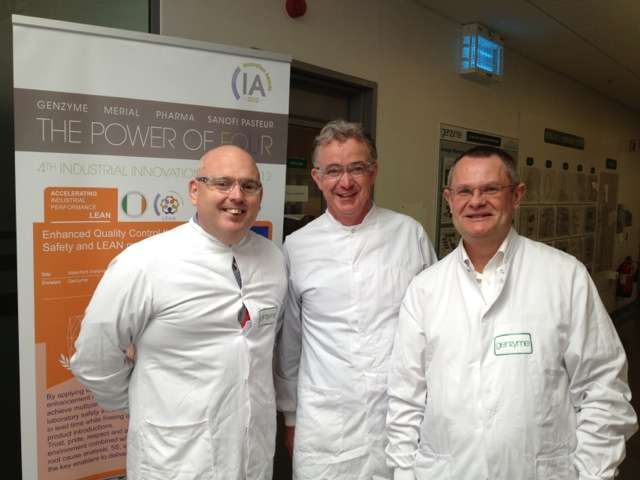 Simon Grogan, John Quirke and Prof. Peter Hines at Genzyme