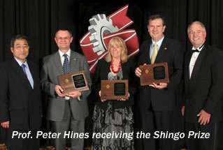 The Shingo Prize being awarded to Prof. Peter Hines