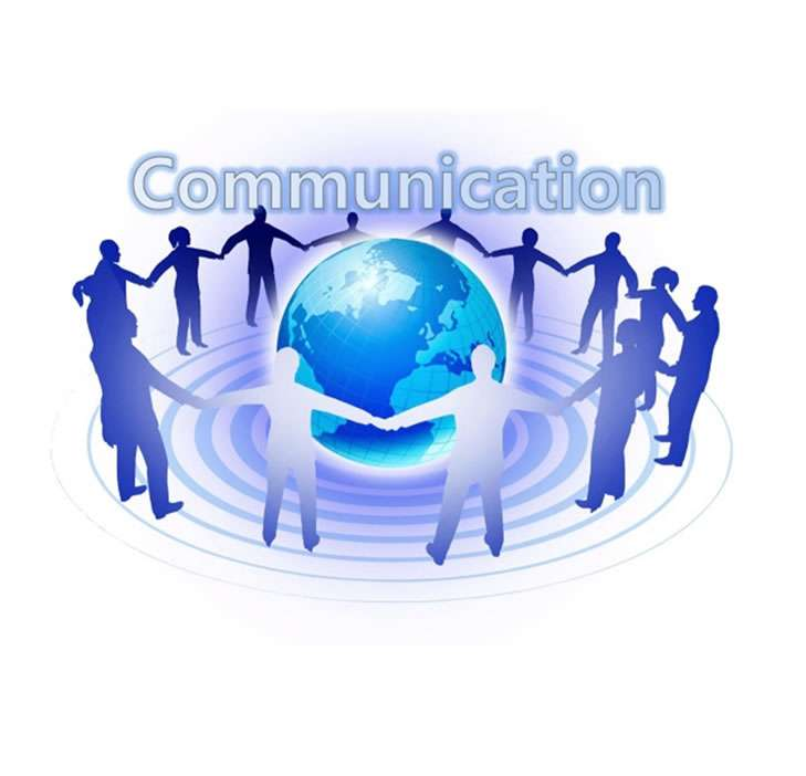 management communication represented by a group of people holding hands around a world globe
