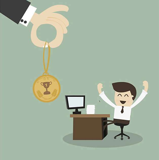 reward and recognition cartoon with cartoon man sat at desk and big hand holding medal