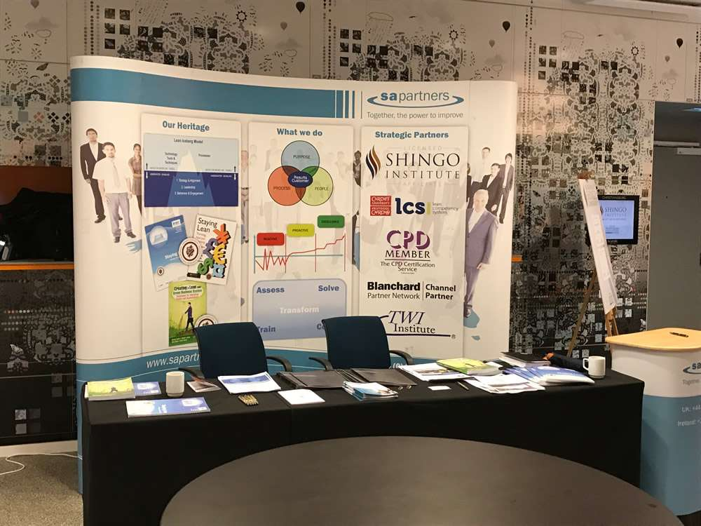 Shingo Exhibition showing S A Partners conference stand