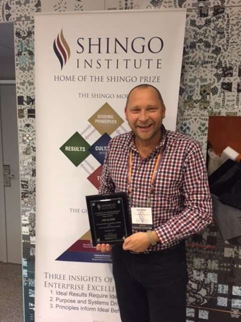 Jon Alder with his award received at the Shingo Conference
