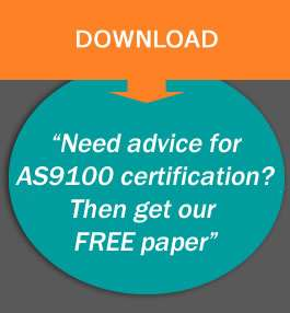 text says need Advice for AS9100 certification? Then get our free paper.