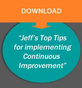 graphic with the text 'jeffs top tips for continuous improvement