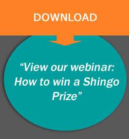 CTA with text saying view our webinar how to win a shingo prize