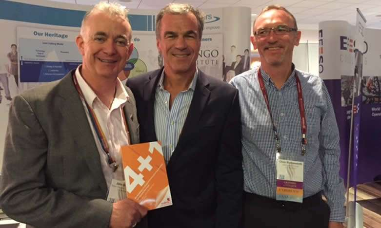 Ireland regional head John Quirke at the book launch of 4+1 at the Shingo conference, with Chris Butterworth (right) and John Brent (Centre)