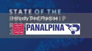 Banner with Cardiff University and Panalpina logos