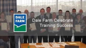 Dale Farm team members receiving their certificates from Nick Whelan CEO Dale Farm