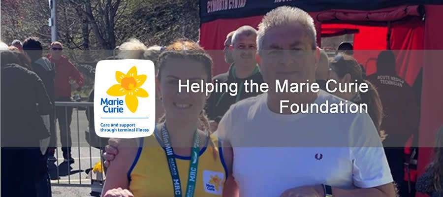 image of Jeff Williams and his daughter, Kirsty, pictured at the end of the half marathon